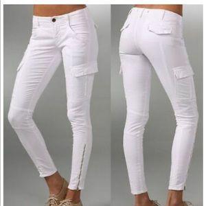 J Brand Houlihan Skinny Cargo Pants White Sz 33